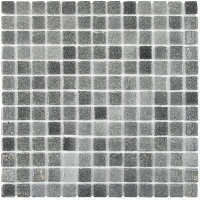 Ruidera Square Gris 13 in. x 13 in. x 5 mm Glass Mosaic Wall Tile