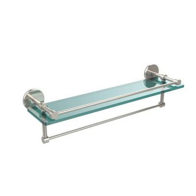 22 in. W Gallery Glass Shelf with Towel Bar in Polished Nickel