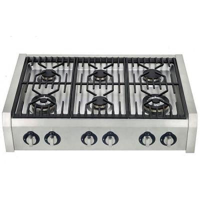 36 in. Professional Style Slide-In Gas Cooktop in Stainless Steel with 6 Burners