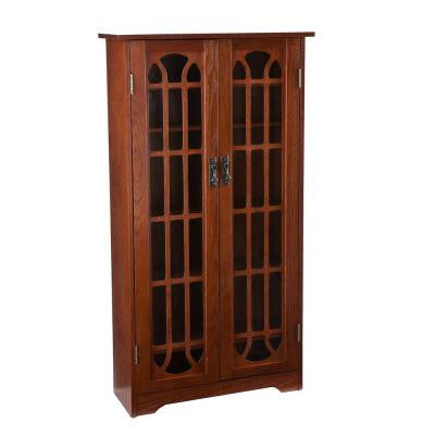 100-Disc Capacity Oak Window Pane Multimedia Storage Cabinet