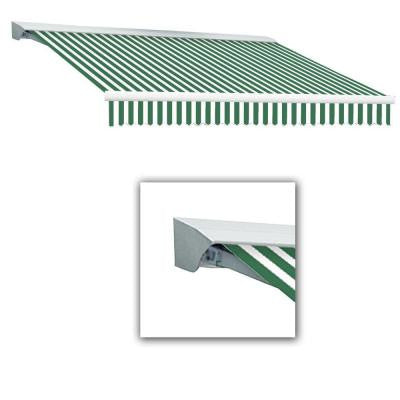 24 ft. Destin with Hood AT Model Right Motor Retractable Awning (24 ft. W x 10 ft. D) in Forest Green/White