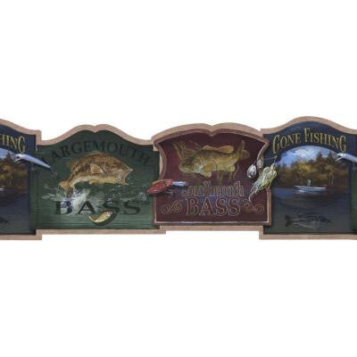 9 in. Bass Fishing Signs Wallpaper Border