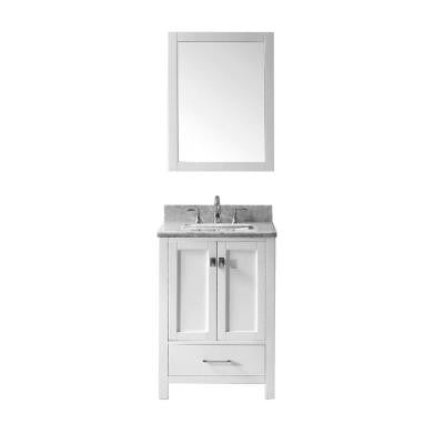 Caroline Avenue 24-6/8 in. Single Vanity in White with Marble Vanity Top in White