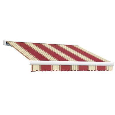 10 ft. Key West Full-Cassette Manual Retractable Awning (96 in. Projection) in Burgundy/White