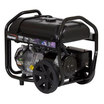 6,000-Watt Gasoline Powered Manual Start Portable Generator with Cord