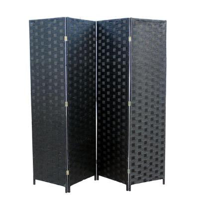 70.5 in. x 0.75 in. 4-Panel Paper Straw Weave Screen on 2 in. Wooden Legs Handcrafted Room Divider in Black