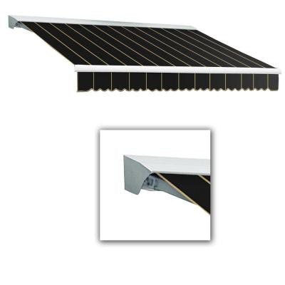 16 ft. LX-Destin with Hood Left Motor/Remote Retractable Acrylic Awning (120 in. Projection) in Black Pin