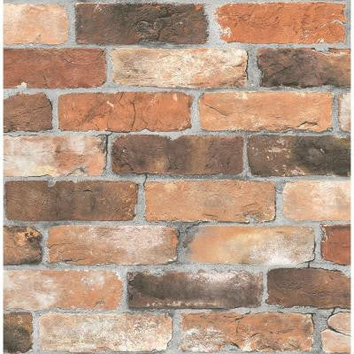 8 in. W x 10 in. H Orange Reclaimed Bricks Rustic Wallpaper Sample
