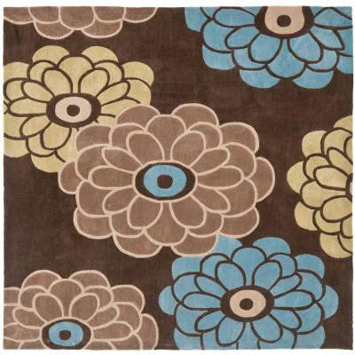 Modern Art Brown/Multi 7 ft. x 7 ft. Square Area Rug