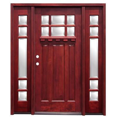 68 in. x 80 in. Craftsman 6 Lite Stained Mahogany Wood Prehung Front Door with Dentil Shelf and 12 in. Sidelites