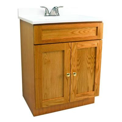 24 in. Vanity in Oak with Cultured Marble Vanity Top in White