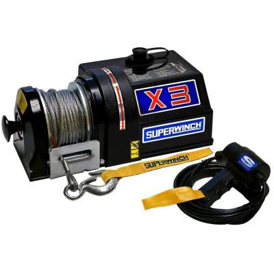 X3F Series 12-Volt DC Freewheeling Utility Winch with Hawse Fairlead and 15 ft. Remote