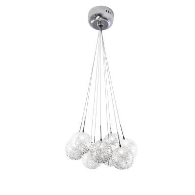9-Light Chrome Glass Ball Mesh Pendant