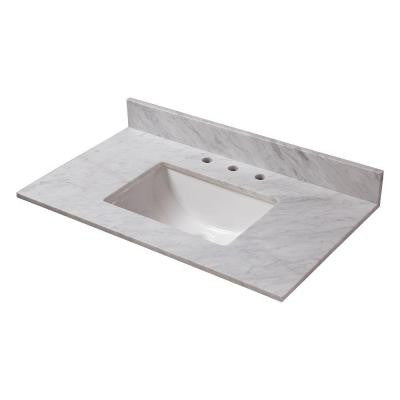 37 in. W Marble Vanity Top in Carrara with Trough Sink and 8 in. Faucet Spread