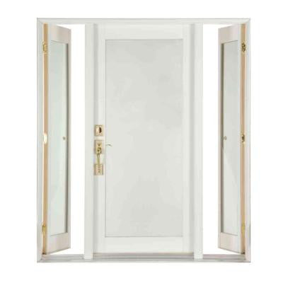 Pro Series White Full Lite Wood Prehung Front Door with Venting Sidelites