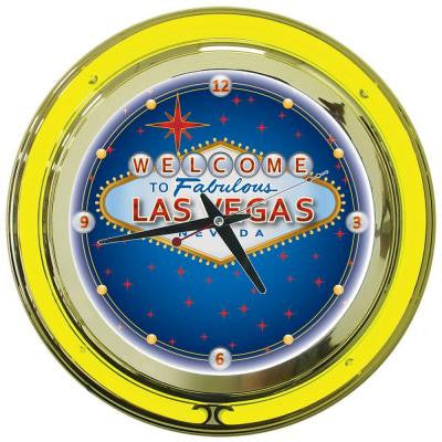 14 in. Las Vegas Neon Wall Clock