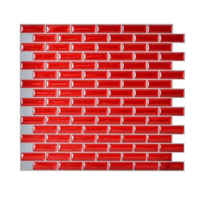 10.20 in. x 9.10 in. Peel and Stick Mosaic Decorative Wall Tile Backsplash Murano Cosmo in Red