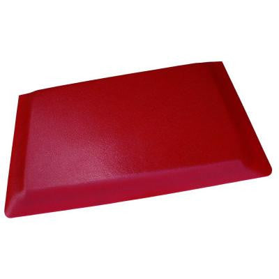 Hide Double Sponge Pebble Brushed Red Surface 24 in. x 96 in. Vinyl Kitchen Mat