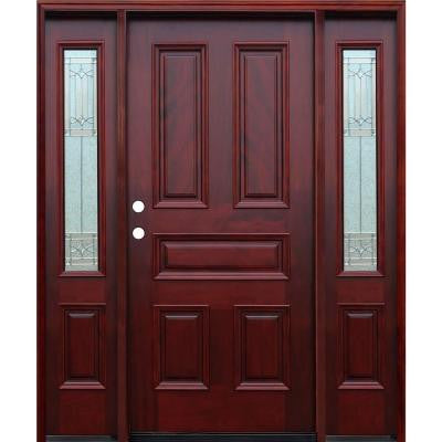 70in.x82in. Traditional 5-Panel Stained Mahogany Wood Prehung Front Door w/6in. Wall Series and 14in. Sidelites