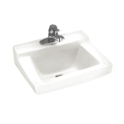 Declyn Wall Hung Bathroom Sink in White with 4 in. Faucet Holes