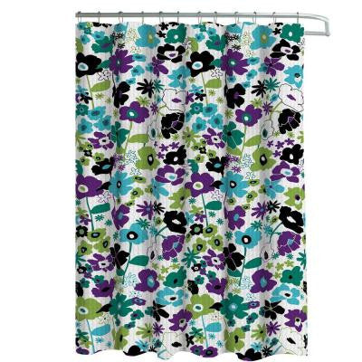 Oxford Weave Textured 70 in. W x 72 in. L Shower Curtain with Metal Roller Hooks in Stencil Floral Jewel