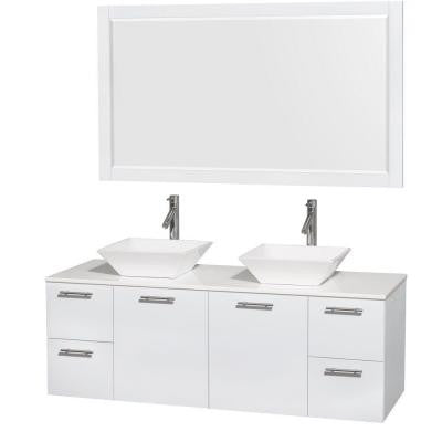 Amare 60 in. Double Vanity in Glossy White with Solid-Surface Vanity Top in White, Porcelain Sinks and 58 in. Mirror