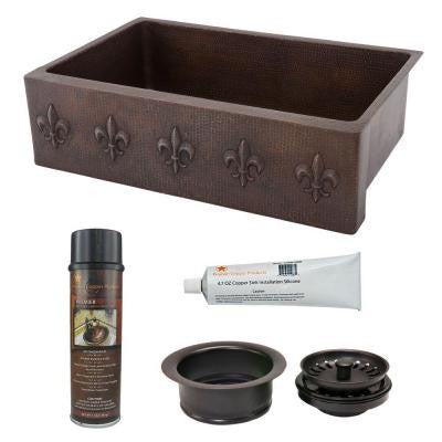 Undermount Copper 33 in. 0-Hole Single Bowl Kitchen Sink with Fleur De Lis Design and Drain in Oil Rubbed Bronze