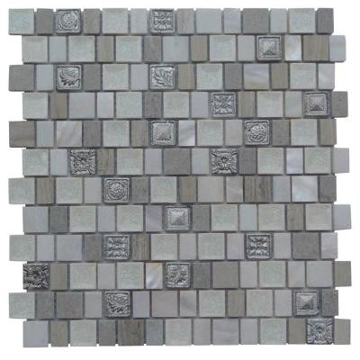 Charm II Silver 12 in. x 12 in. x 8 mm Glass and Stone Mosaic Tile