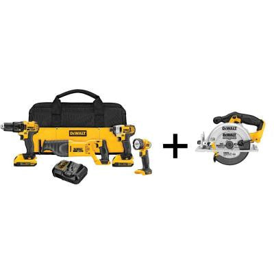 20-Volt MAX Lithium-Ion Cordless Combo Kit (4-Tool) with 6-1/2 in. Circular Saw (Tool-Only)