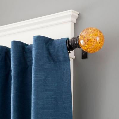 Jurassic 90 in. - 130 in. Telescoping 1 in. Curtain Rod Kit in Chocolate Brown with Amber Ball Finial