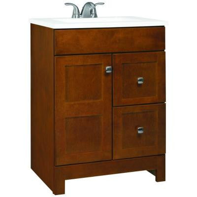 Artisan 24 in. W Vanity in Chestnut with Cultured Marble Vanity Top in White