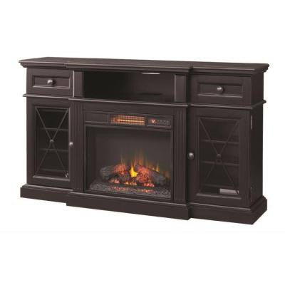 Rosengrant 59.5 in. Media Console Electric Fireplace in Distressed Black with Reversible Wine Shelves