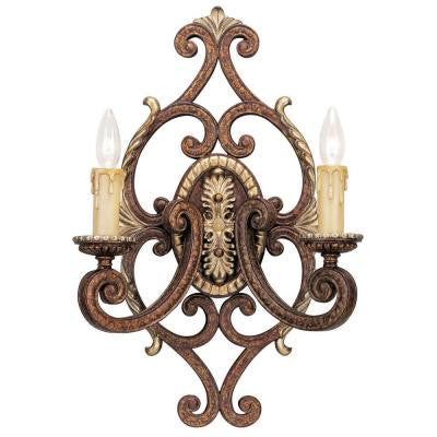 2-Light Palacial Bronze Wall Sconce with Gilded Accents