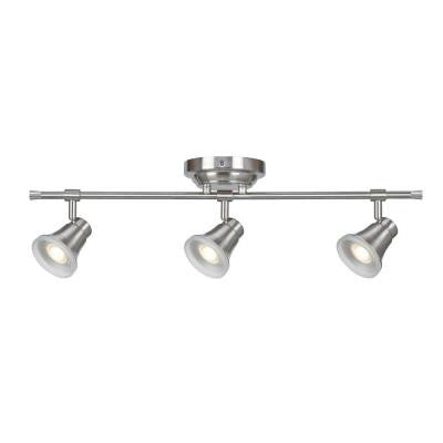 Solo 3-Light Satin Nickel Dimmable Fixed Track Lighting Kit