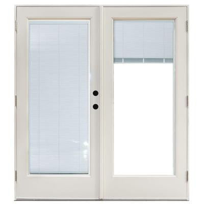 59-1/4 in. x 79-1/2 in. Composite White Left-Hand Outswing Hinged Patio Door with Blinds Between Glass