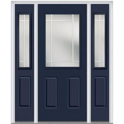 60 in. x 80 in. Classic Clear Glass PIM 1/2-Lite Painted Fiberglass Smooth Prehung Front Door with Sidelites