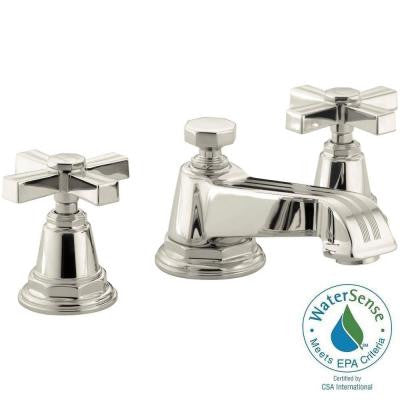 Pinstripe Pure 8 in. Widespread 2-Handle Low-Arc Bathroom Faucet in Vibrant Polished Nickel