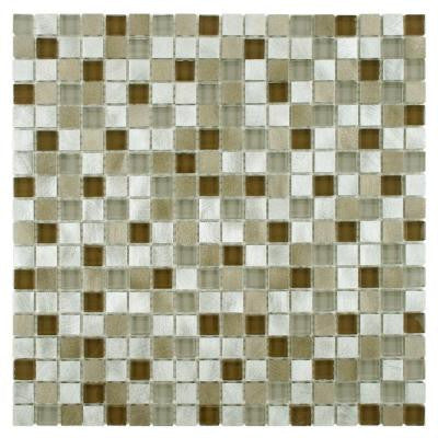 Fusion Mini Lorraine 12 in. x 12 in. x 6 mm Brushed Aluminum and Glass Mosaic Wall Tile