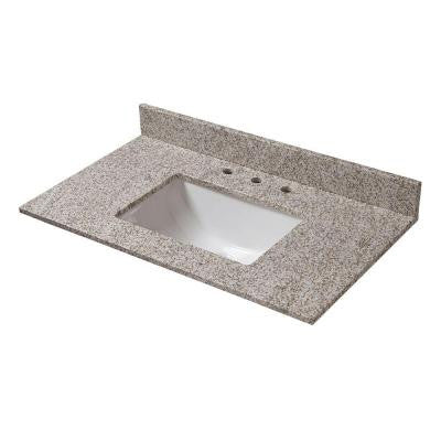 31 in. W Granite Vanity Top in Golden Hill with Trough Sink and 8 in. Faucet Spread