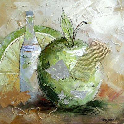 "24 in. x 24 in. ""Green Apple Fusion"" Hand Painted Contemporary Artwork"