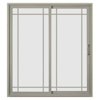 60 in. x 96 in. V-4500 Desert Sand Prehung Left Hand Sliding 9 Lite Vinyl Patio Door