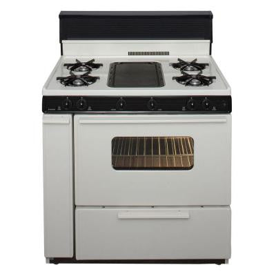 36 in. 3.91 cu ft. Battery Spark Ignition Gas Range in Biscuit
