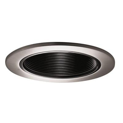 4 in. Satin Nickel Recessed Trim with Black Coilex Baffle