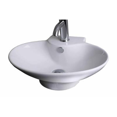21-in. W x 15-in. D Wall Mount Oval Vessel Sink In White Color For Single Hole Faucet