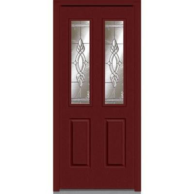 34 in. x 80 in. Brentwood Decorative Glass 2 Lite 2-Panel Painted Fiberglass Smooth Prehung Front Door