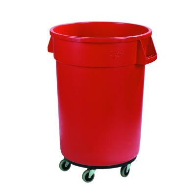 Bronco 44 Gal. Red Round Trash Can with Dolly (3-Pack)