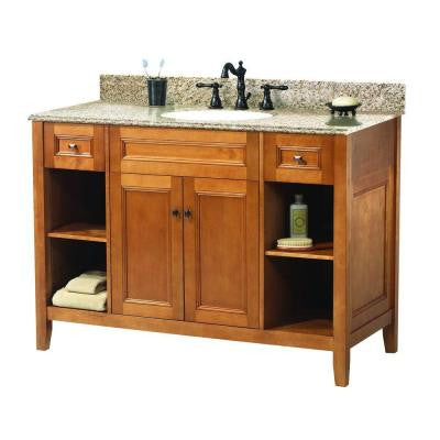 Exhibit 49 in. W x 22 in. D Vanity in Rich Cinnamon with Granite Vanity Top in Golden Hill with White Basin