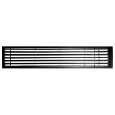AG20 Series 4 in. x 24 in. Solid Aluminum Fixed Bar Supply/Return Air Vent Grille, Black-Gloss with Right Door