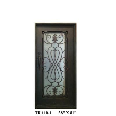 36 in. x 80 in. Copper Right-Hand Inswing Wrought Iron Single Straight Top Prehung Front Door
