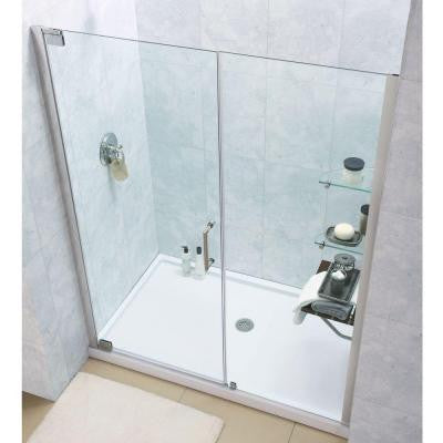 Elegance 60 in. x 74-3/4 in. Pivot Shower Door in Chrome with Right Hand Drain Base